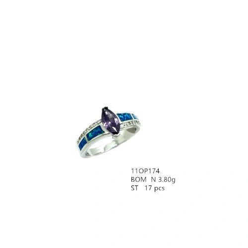 925 STERLING SILVER LAB BLUEOPAL MARQUISE WITH SIDE STONES RING WITH AMETHYST-11OP174-K5-AMT