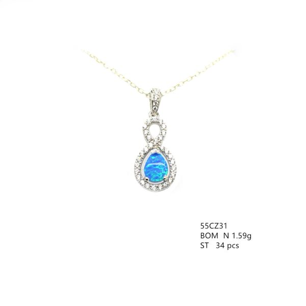 925 STERLING SILVER INFINITY LOOP LAB BLUE OPAL PENDAMT-55CZ31-K5