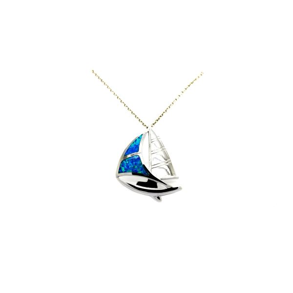 925 SILVER INLAID LAB BLUE FIRE OPAL SAILING BOAT PENDANT, 33082-OP-K5