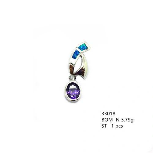 925 SILVER SAILING CLOUD ,BLUE OPAL WITH CZ AMETHYST PENDANT -33018-K5-AMT