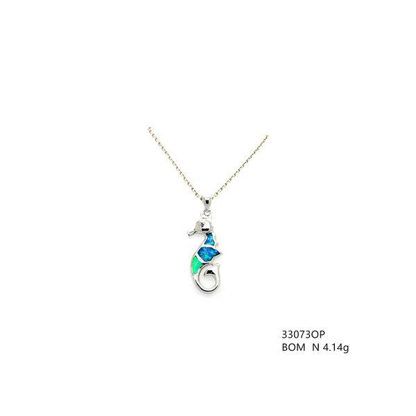 925 SILVER INLAID LAB BLUE OPAL SEA HORSE PENDANT-3307