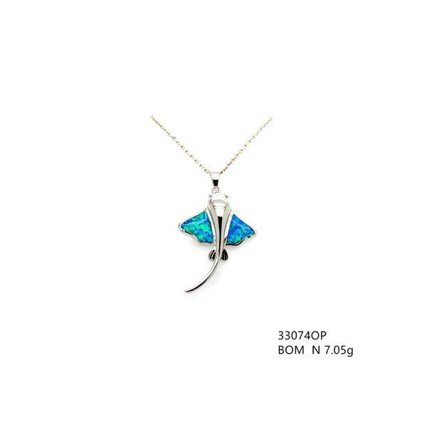 925 SILVER INLAID LAB BLUE OPAL STINGRAY FISH PENDANT-33074-K5