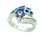 925 STERLING SILVE INLAID BLUE OPAL PEACOCK RING WITH AMETHYST-11OP67-K5