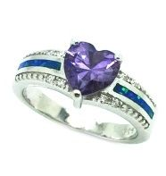 925 STERLING SILVE INLAID BLUE OPAL HEART RING WITH AMETHYST-11OP69-K5