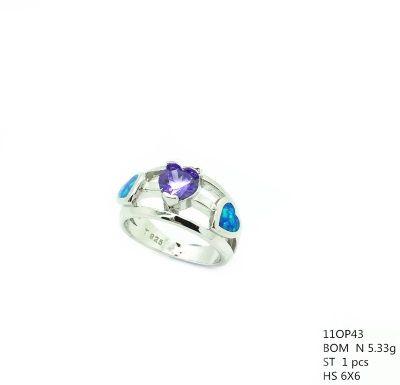 925 STERLING SILVER INLAID BLUE OPAL HEART RING-11OP43-K5