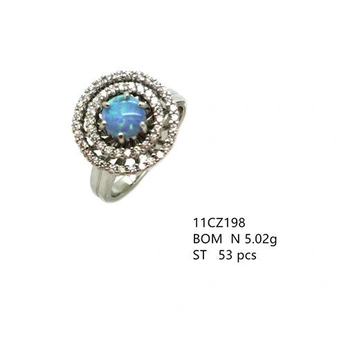 925 STERLING SILVER MICROPAVE BLUE ROUND OPAL RING WITH DOUBLE ROW-11CZ198-K6