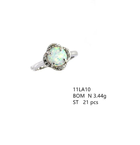 925 STERLING SILVER MICROPAVE WHITE OPAL FLOWER RING-11LA10-K17