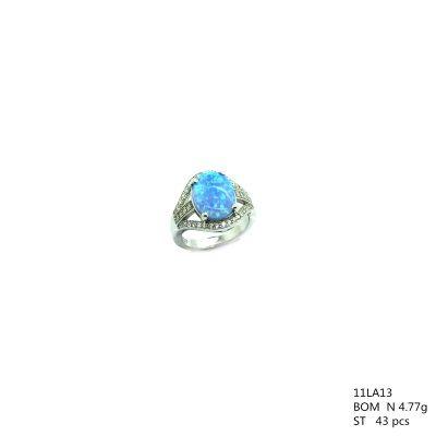 925 STERLING SILVER MICROPAVE BLUE OPAL RING-11LA13-K6