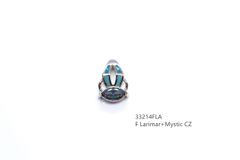 925 #STERLING SILVER MYSTIC CZ & LARIMAR, #HUGGING PENDANT- 33214-LA-MY