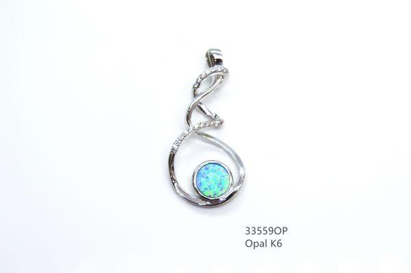925 # STERLING SILVER TIE ROPE OPAL PENDANT- 33559-K5