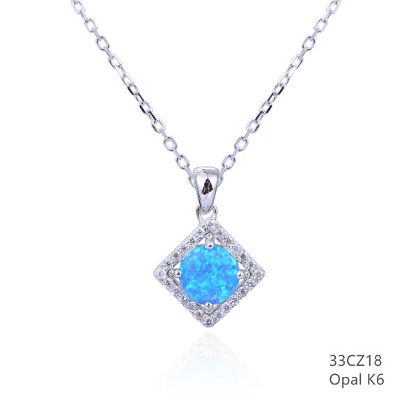 925 STERLING SILVER SQUARE HALO BLUE LAB OPAL PENDANTS-33CZ18-K6