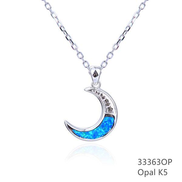 925 STERLING SILVER BLUE LAB OPAL MOON PENDANT-33363-K5