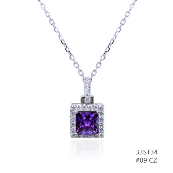 925 STERLING SILVER CZ AMETHYST SQUARE HALO PENDANT-33ST34-AMT