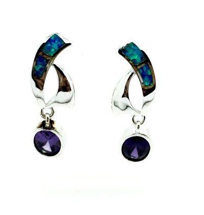 925 Sterling Silver Opal Dangling Earrinsg with cz Amethyst Stone,22op42-k5-am