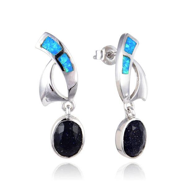 925 Sterling Silver Opal Dangling Earrings with Blue Sand Stone,22op42-k5-BLS