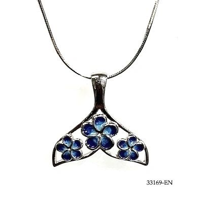 925 STERLING SILVER ,BLUE WATER WORK ENAMEL WHALE TAIL WITH HAWAIIAN PLUMERIA FLOWER.33169-EN