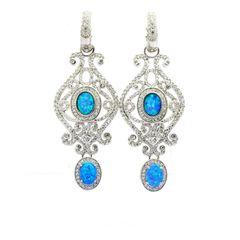 925 STERLING SILVER VINTAGE DROP EARRINGS LAB BLUE OPAL , 22013-K5-AMT