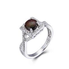 925 Sterling Silver,Ammolite,Infinity Round Ring,11CZ165