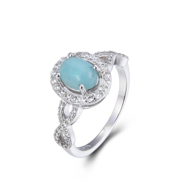 925 Sterling Silver,Larimar,Infinity Oval Ring,11CZ192