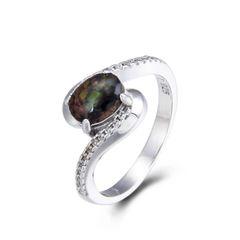 925 Sterling Silver,Ammolite,Oval Ring,11OP33