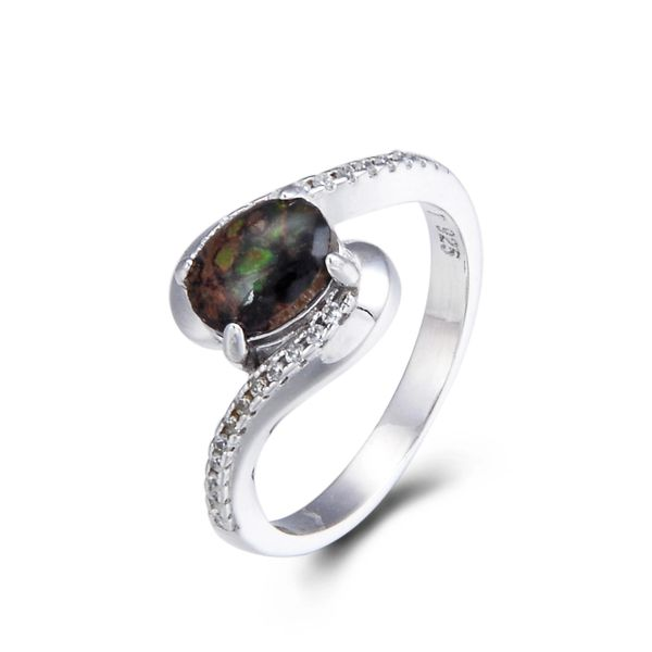 925 Sterling Silver,Ammolite,Oval Ring,11OP33