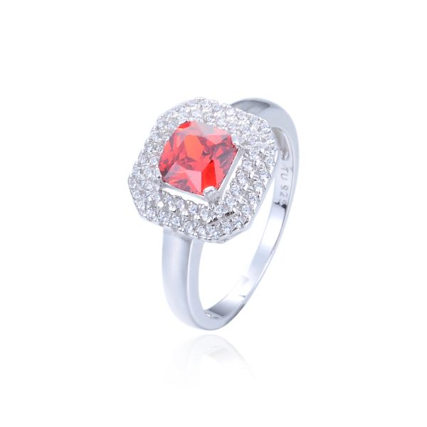 925 Sterling Silver,Cubic Zirconium,Square Ring,11OP90