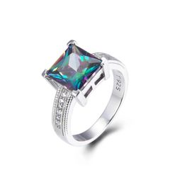 925 Sterling Silver,Mystic,Square Ring,11ST08