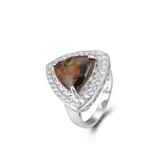 925 Sterling Silver,Ammolite,Triangle Ring,11ST10