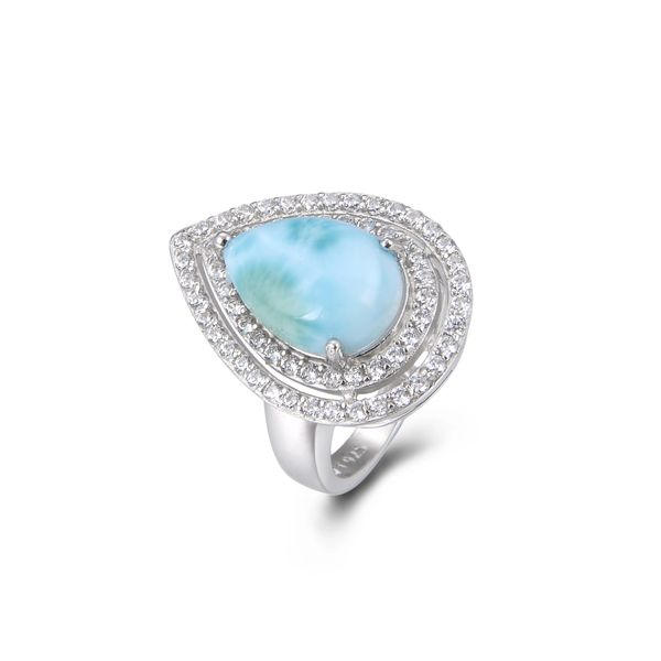 925 Sterling Silver,Larimar,Drop Ring,11ST15