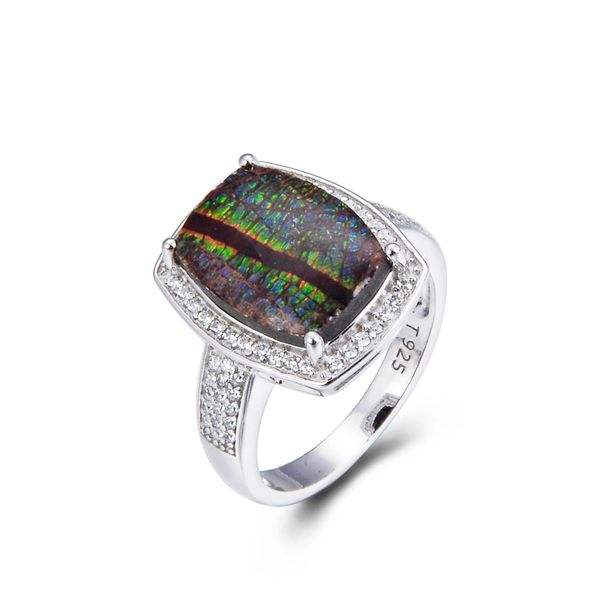925 Sterling Silver,Ammolite,Emerald Cut Ring,11ST16