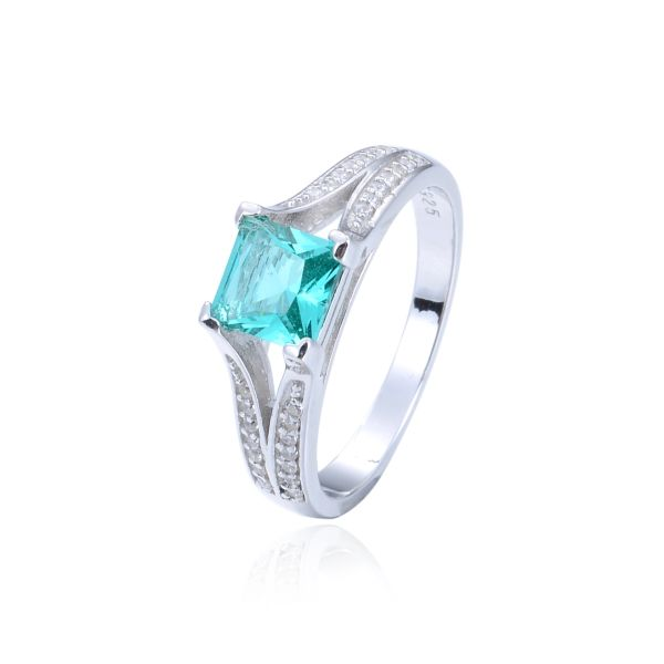 925 Sterling Silver,Paraiba,Color Change,Square Ring,11028ST