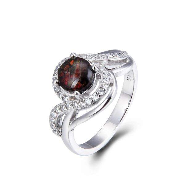 925 Sterling Silver,Ammolite,Round Ring,11041AMO
