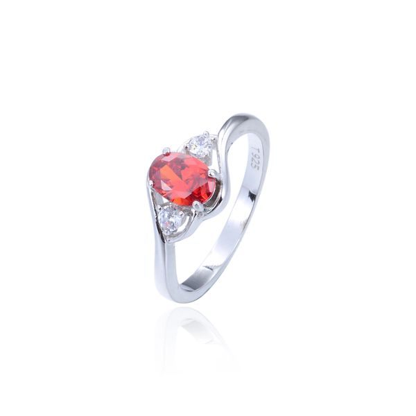 925 Sterling Silver,Cubic Zirconium,Orange Red,Oval Ring,11059CZ