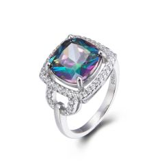925 Sterling Silver,Mystic,Square Ring,11069ST