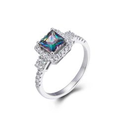 925 Sterling Silver,Mystic,Square Ring,11097ST