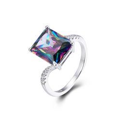 925 Sterling Silver,Mystic,Square Ring,11270ST