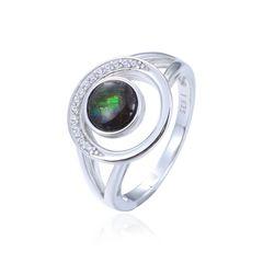 925 Sterling Silver,Ammolite,Round Ring,11357AM