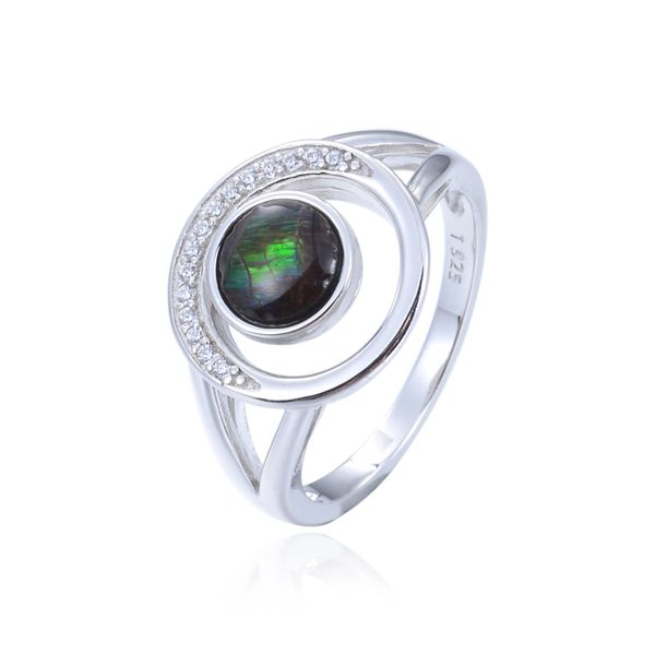 925 Sterling Silver,Ammolite,Round Ring,11357AM