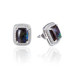 925 Sterling Silver,Ammolite,Emerald Cut Ear Ring,22OP92