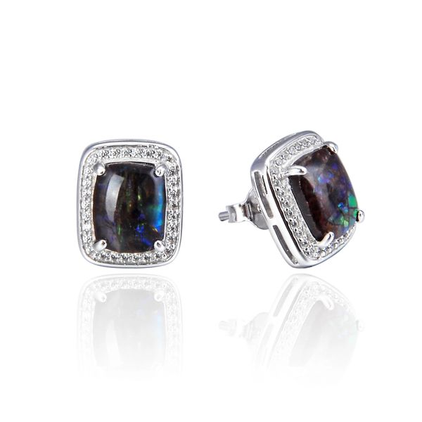 925 Sterling Silver,Ammolite,Emerald Cut Ear Ring,22OP92