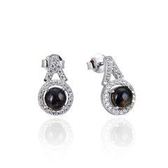 925 Sterling Silver,Ammolite,Round Ear Ring,22OP105