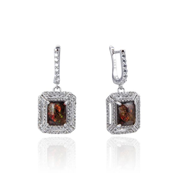 925 Sterling Silver,Ammolite,Emerald Cut Ear Ring,22ST04