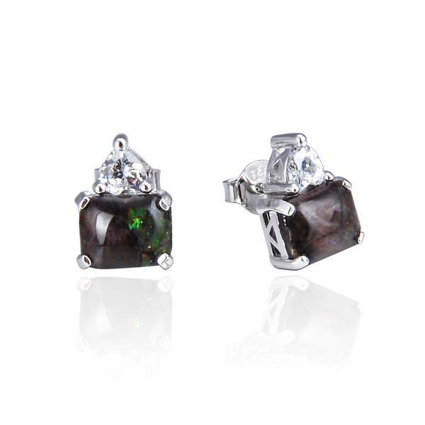 925 Sterling Silver,Ammolite,Square Ear Ring,22ST13