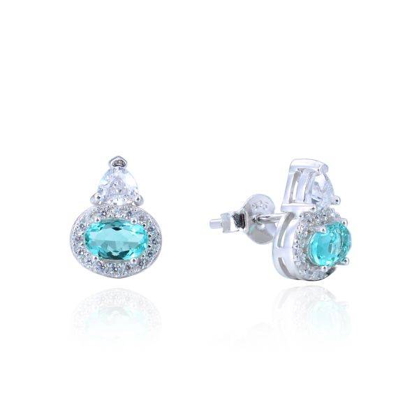 925 Sterling Silver,Paraiba,Color Change,Oval Ear Ring,22ST14