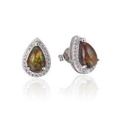925 Sterling Silver,Ammolite,Drop Ear Ring,22ST15