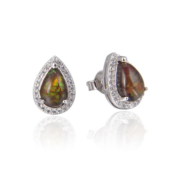 925 Sterling Silver,Ammolite,Drop Ear Ring,22ST15