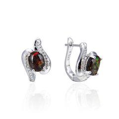 925 Sterling Silver,Ammolite,Oval Ear Ring,22ST20