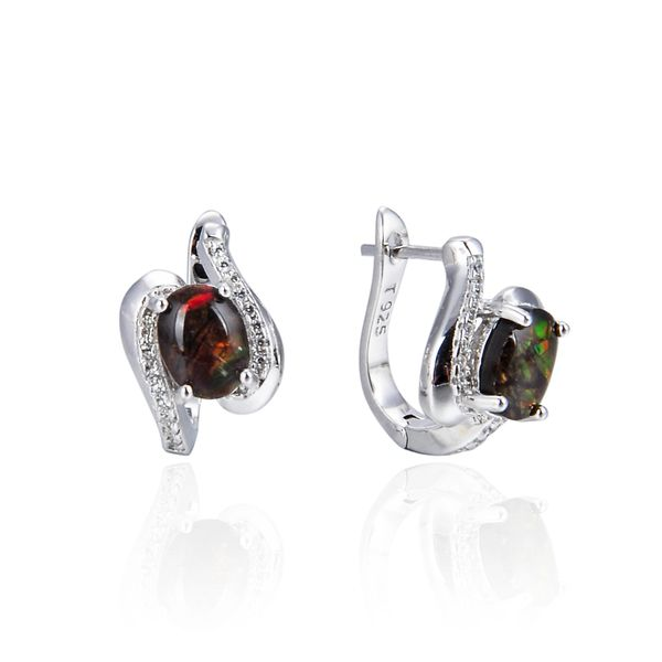 925 Sterling Silver,Ammolite,Oval Ear Ring,22ST20