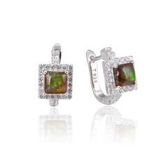 925 Sterling Silver,Ammolite,Square Ear Ring,22ST21