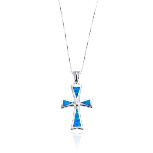 925 Sterling Silver,Dark Blue Opal K5,Cross Pendant,33550OP